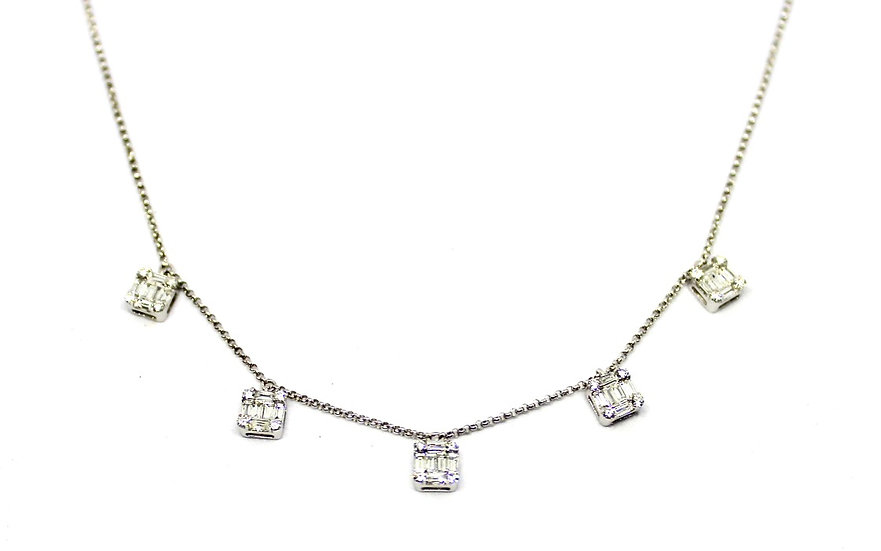 Multi station, white gold necklace with baguette diamond, Barrett Ford Jewelry
