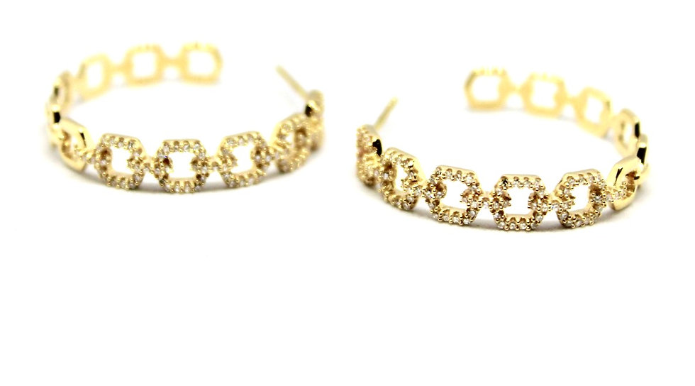 Square cable chain hoop earrings with pave diamonds, barrett ford jewelry
