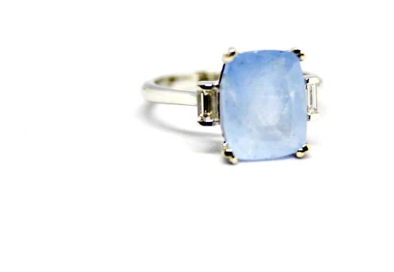 light blue white gold gem ring, Barrett Ford Jewelry