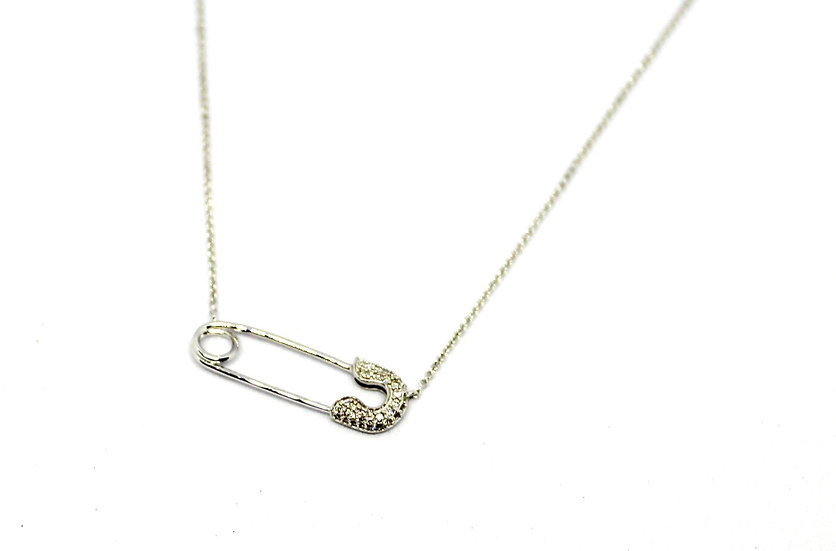 white gold safety pin necklace, Barrett Ford Jewelry