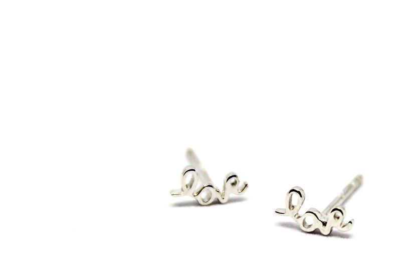 love white gold stud earrings, barrett ford jewelry