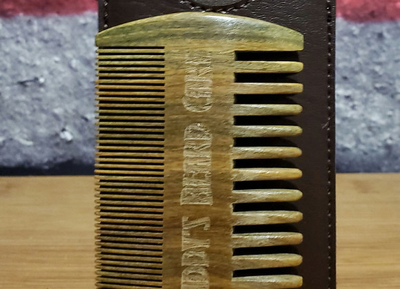 Double Edge Sandlewood Comb w/Leather Pouch