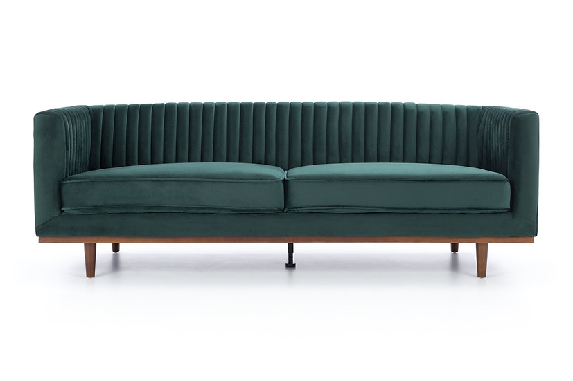 Madison 3 Seater Dark Green Velvet