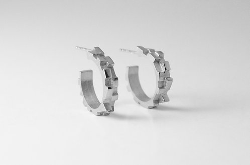 Small Sterling Silver Melodic Hoops