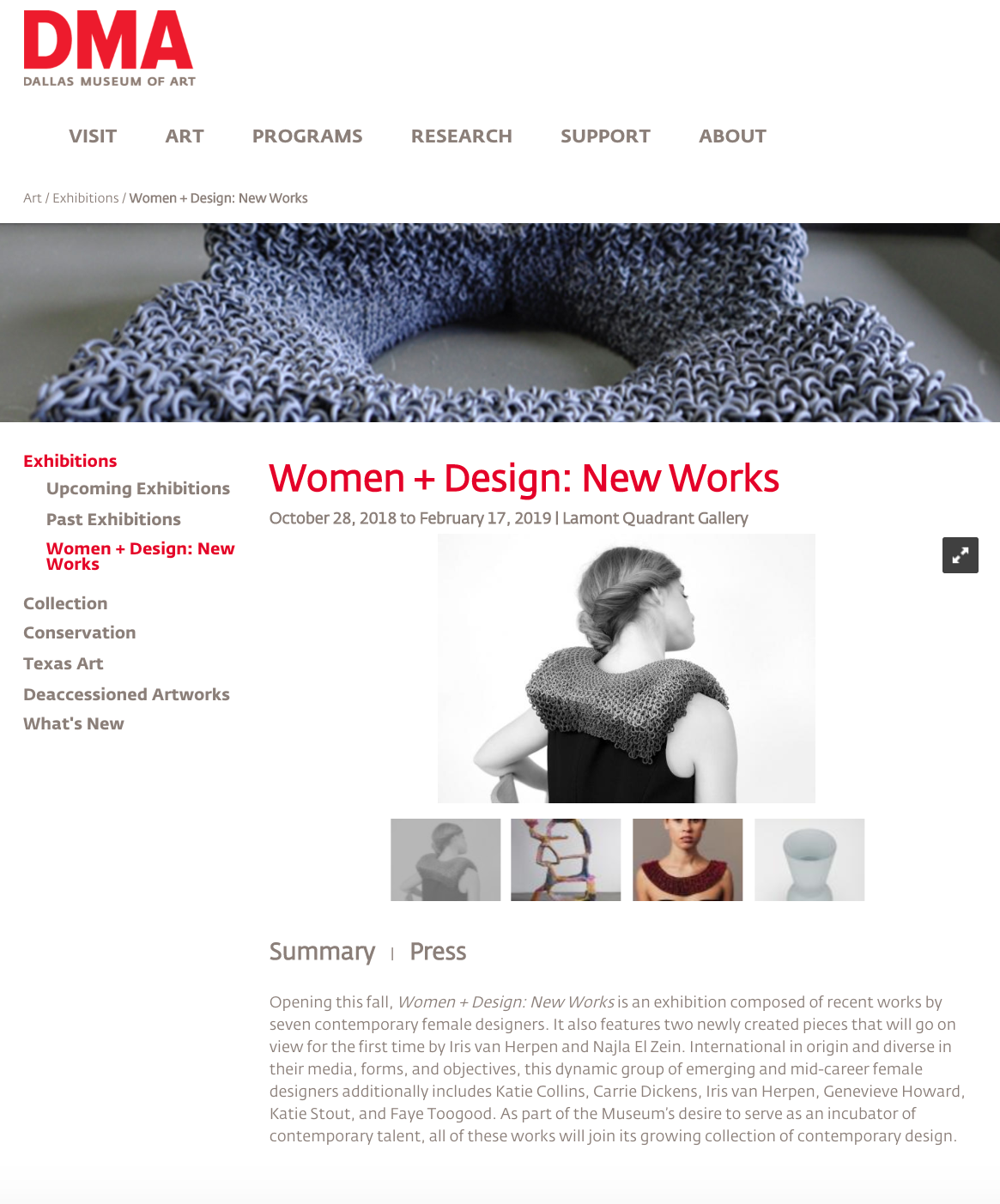 Women + Design: New Works. DMA