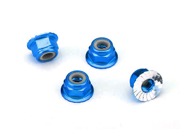 1747R - Nuts, aluminum, flanged, serrated (4mm) (blue-anodized) (4)
