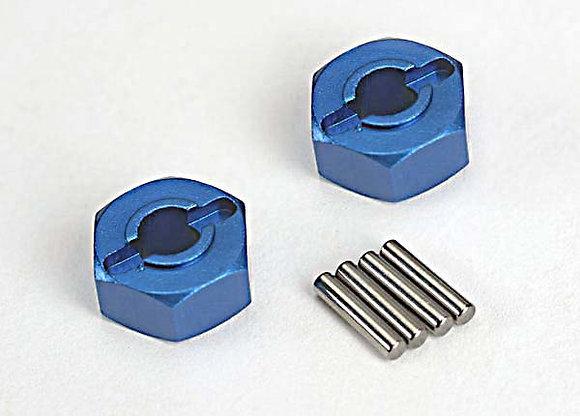 1654X - Wheel hubs, hex (blue-anodized, lightweight aluminum) (2)/ axle pins(4)