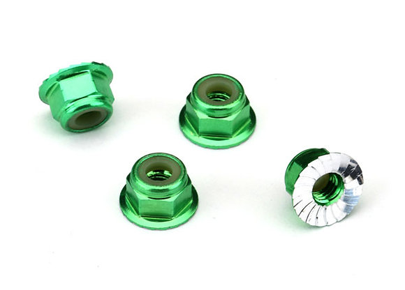1747G - Nuts, aluminum, flanged, serrated (4mm) (green-anodized) (4)