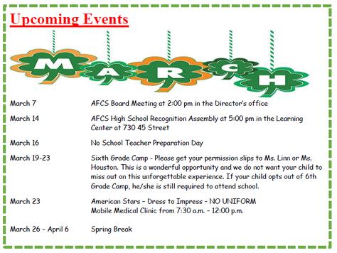 March-April Events
