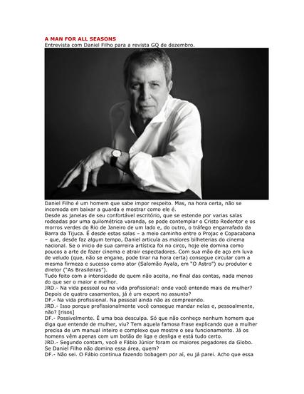 A MAN FOR ALL SEASONS - J.Duran entrevista
