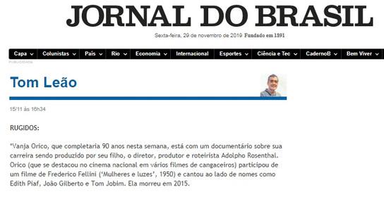 Coluna Tom Leão   Jornal do Brasil