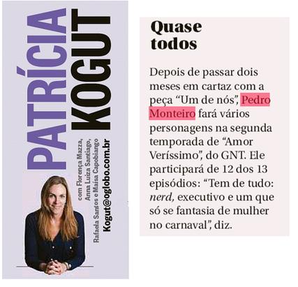 O Globo - Coluna Patrícia Kogut
