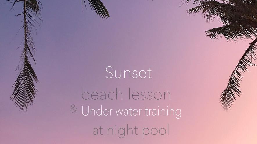 サンセットビーチヨガ+ナイトプールトレーニング アメリカンビレッチの夜景を眺め行う半日リトリートday