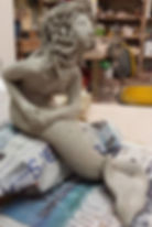 Mermaid self-portrait in sculpture at Two Goats Pottery. Here she is in the greenware stage.