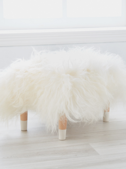 Cuddle Sheepskin Stool - Cloud