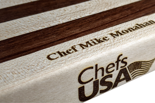 Maple and Walnut Butcher Block Cutting Board   Customized with Name
