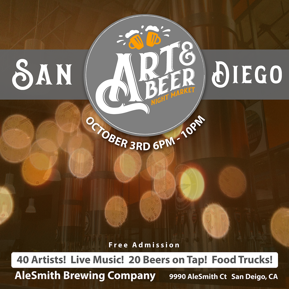 Join Abyssic Reveries for some fantastic BEER & beautiful ARTISTS from all over! FREE ADMISSION! CLICK TO RESERVE YOUR FREE TICKET!  https://www.eventbrite.com/e/art-beer-night-market-sd-tickets-48899102532