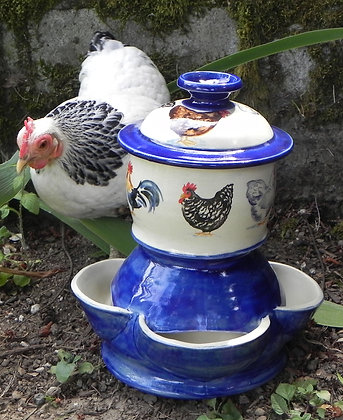Chicken Feeder with Whimsy Chickens in Blue