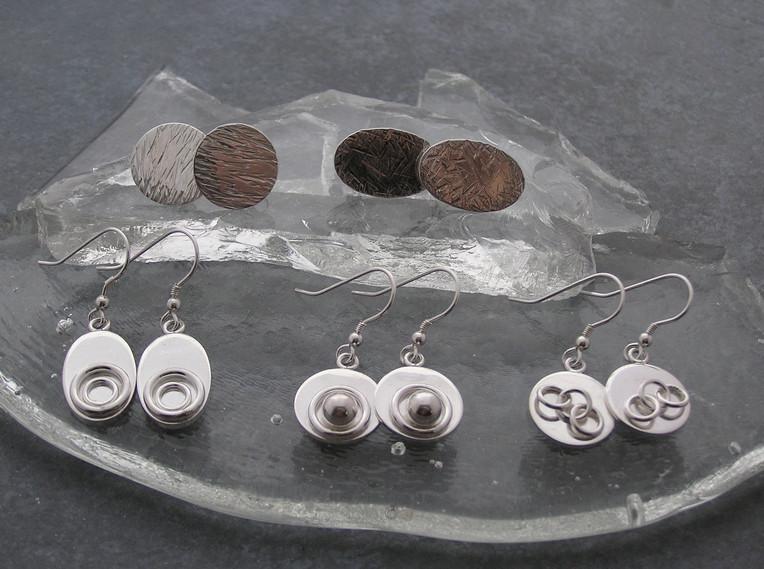 Stud and drop earrings