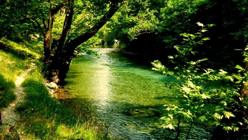Το μονοπάτι δίπλα στον ποταμό Βοϊδομάτη.