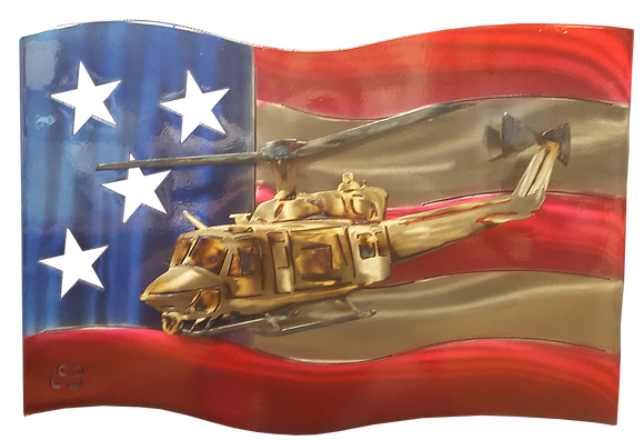 Huey Helicopter US Flag Wall Hanging