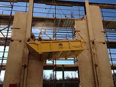 skip pan, demolition,  material handling, crane, rigging,material basket, trash handling,