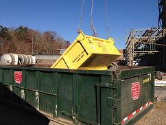 skip pan, demolition,  crane, rigging, material handling, trash handling
