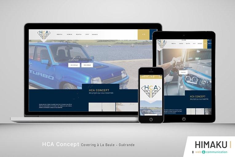 HIMAKU, agence web à Vannes, présente le site internet de HCA Concept, société de covering La Baule