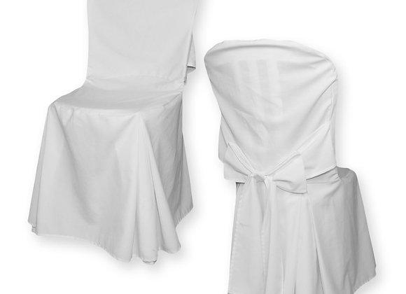 Housse de chaise en tissu blanc avec noeud