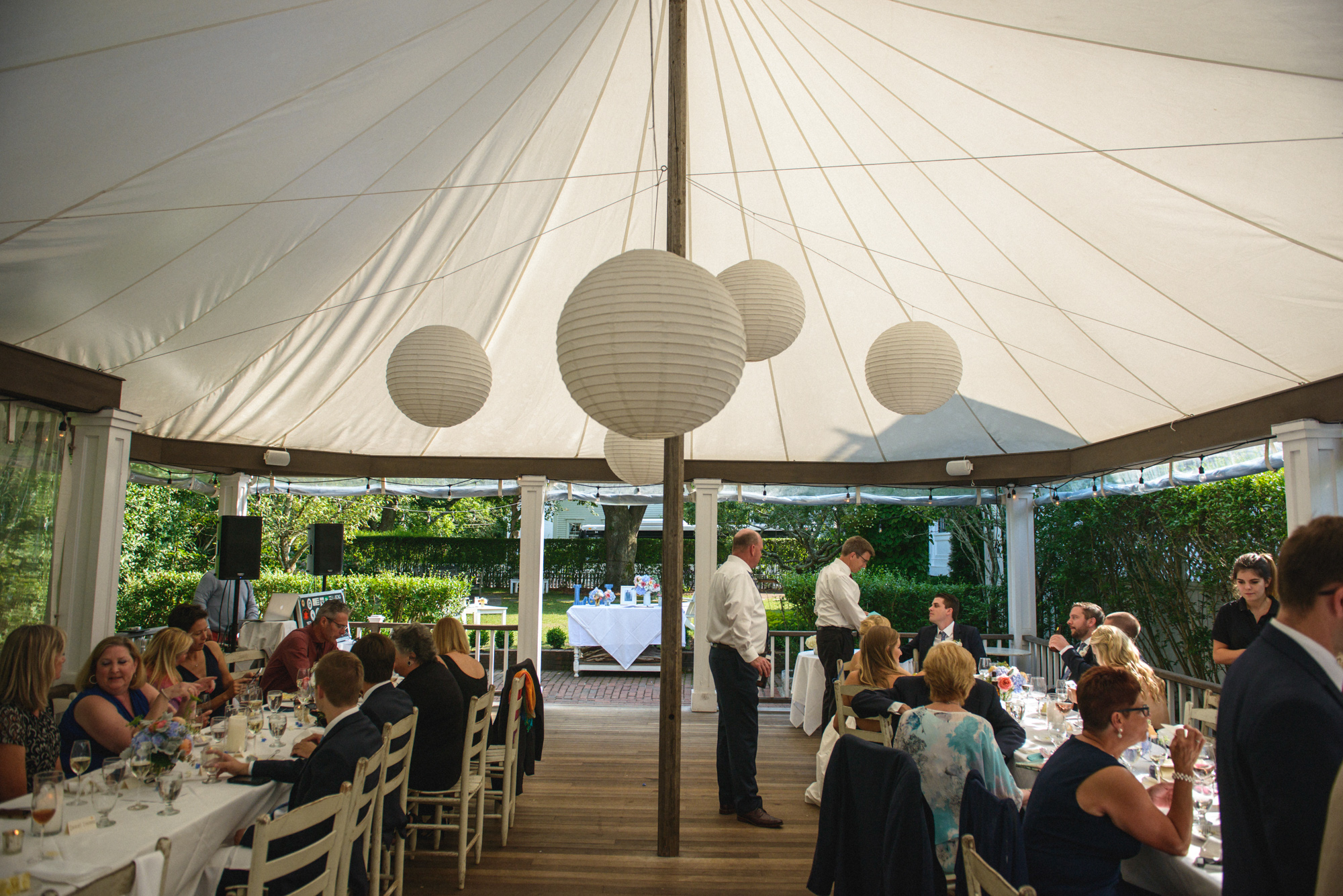 The sperry pole tent  at Atria Restaurant and Brick Cellar Bar in Edgartown photo by David Welch Photography