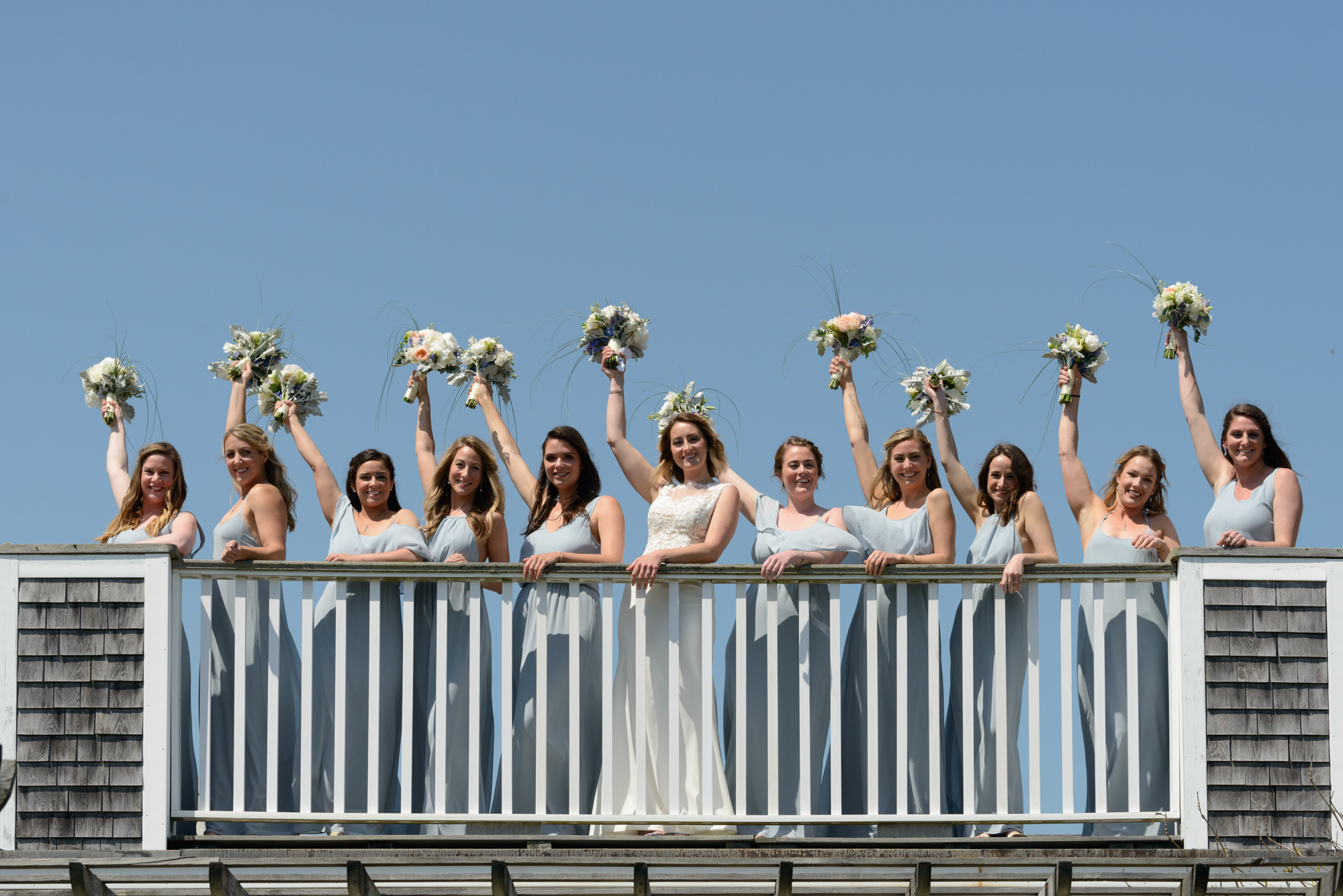 A bride and her bridesmaids at the Winnetu Oceanside Resort  photo by David Welch Photography