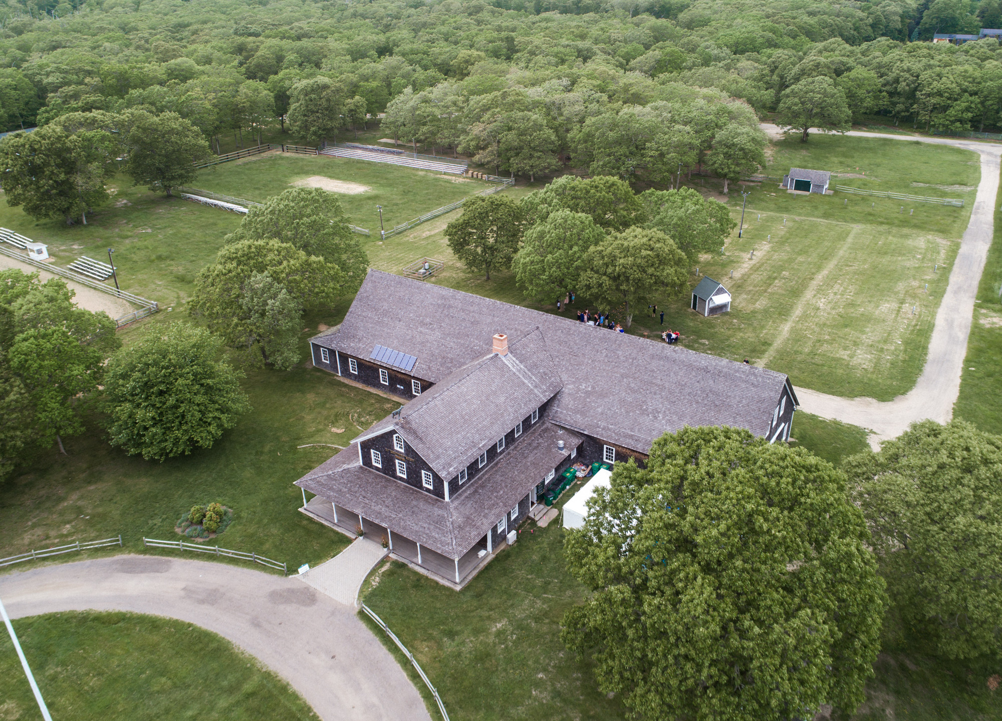 Drone photo of the Martha's Vineyard Agricultural Hall in West Tisbury martha's vineyard wedding venues photo by David Welch Photography
