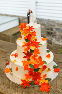 Wedding cake at a Dr. Daniel Fisher House and Garden wedding on Martha's Vineyard photo by David Welch Photography