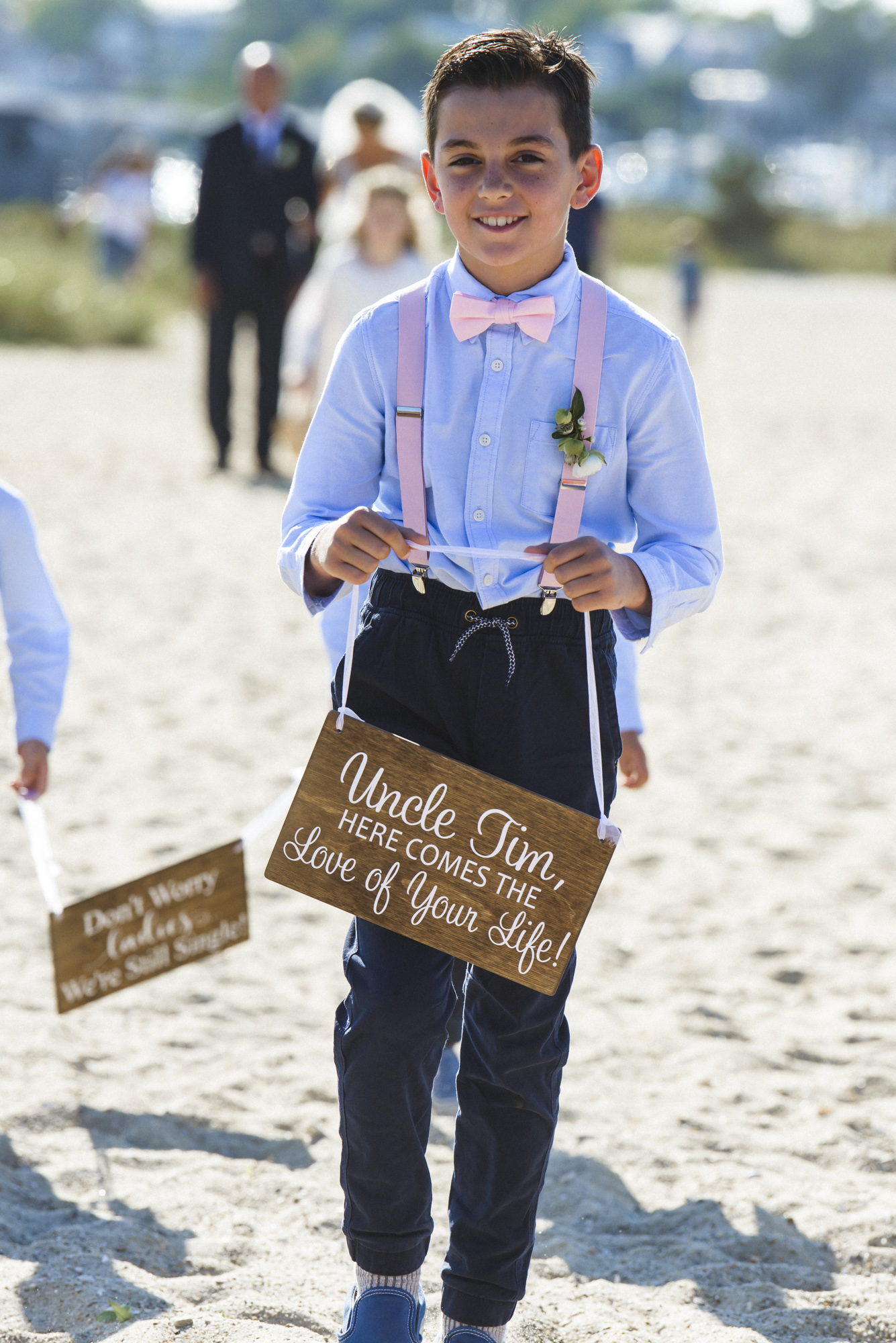 A wedding ceremony at Lighthouse Beach on Martha's Vineyard photo by David Welch Photography