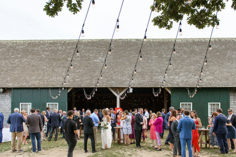 Cocktail hour outside the Martha's Vineyard Agricultural Society Hall in West Tisbury Photo by David Welch Photography