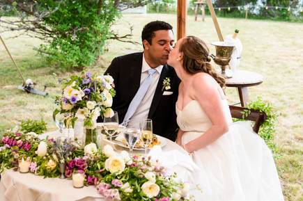 A bride and groom kiss in Chilmark photo by David Welch Photography