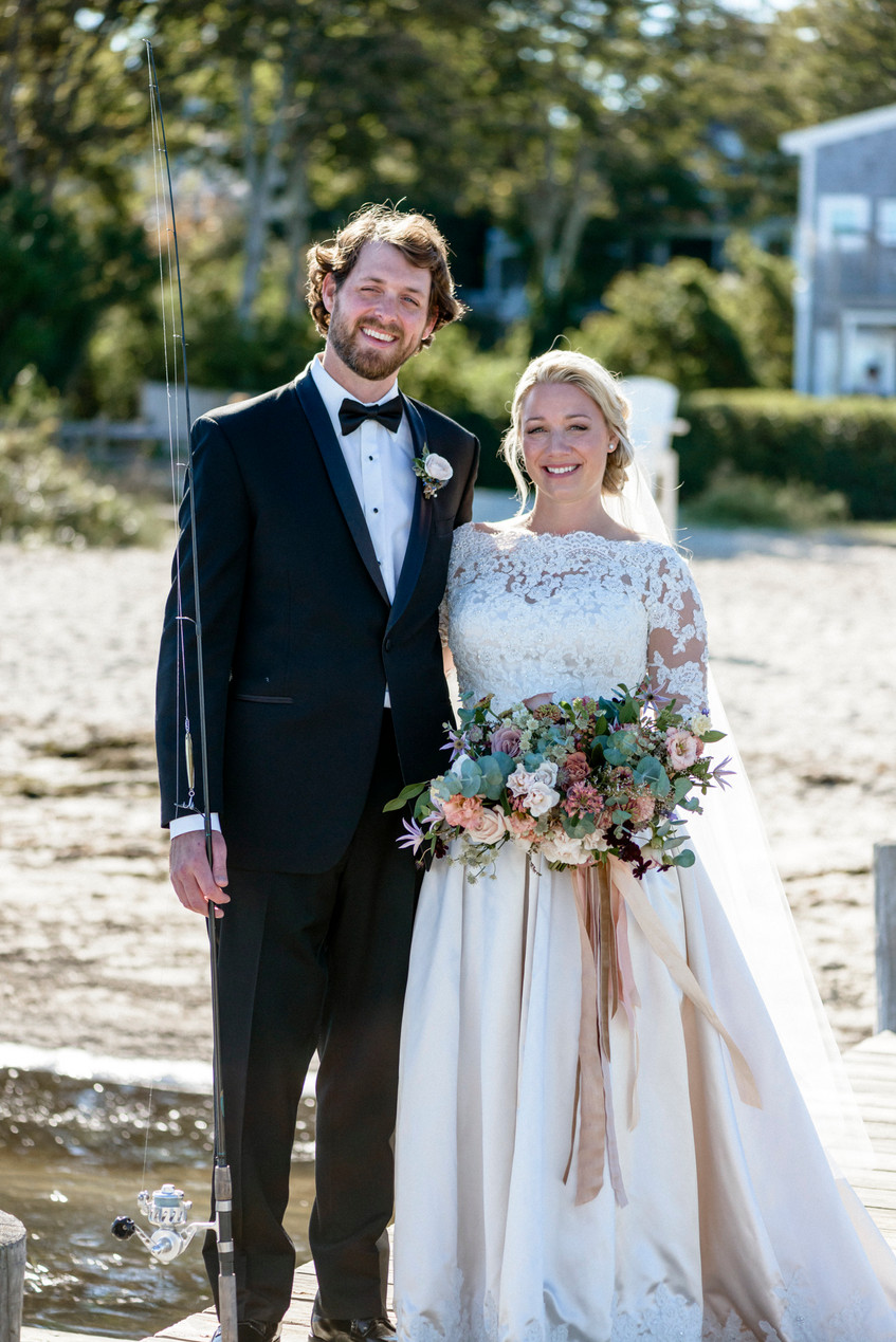 A bride and groom at Owen Park in Vineyard Haven photo by David Welch Photography