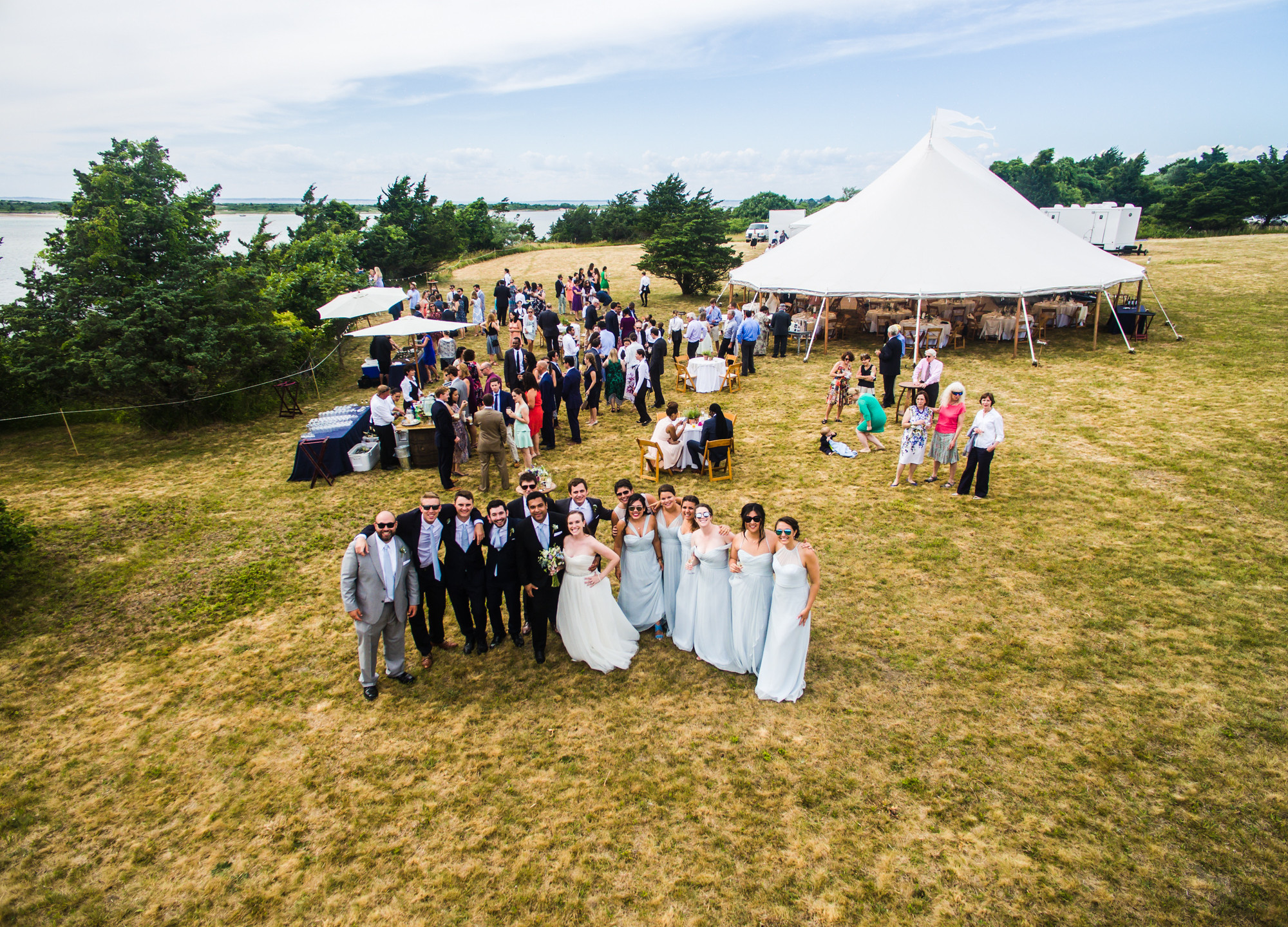 A private wedding celebration on Martha's Vineyard drone photo by David Welch Photography