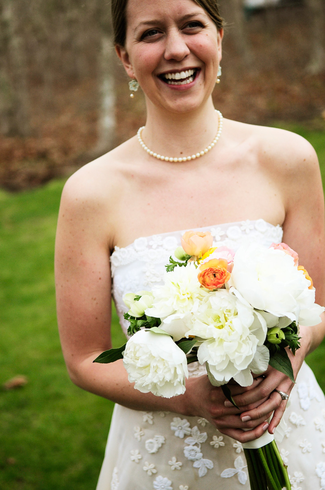 A bridal bouquet at Allen Sheep Farm in Chilmark  photo by David Welch Photography
