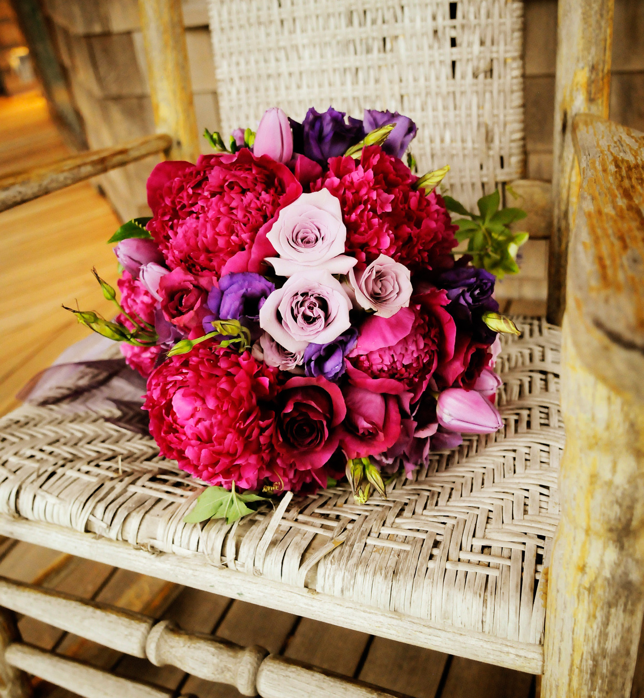 A bridal bouquet at a martha's vineyard wedding venues West Chop Club photo by David Welch Photography
