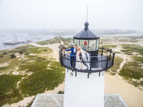 Drone image of Kelly & Dave at the Edgartown Lighthouse on Martha's Vineyard