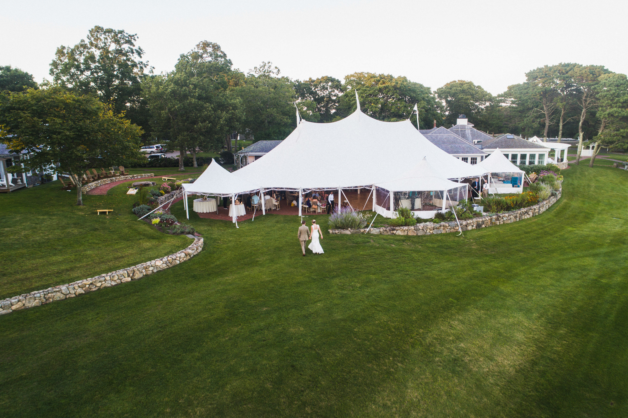 Drone photo of Farm Neck Golf Club martha's vineyard wedding venues special events tent photo by David Welch Photography