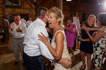 A wedding reception dance party at the Martha's Vineyard Agricultural Society Ag Hall photo by David Welch Photography