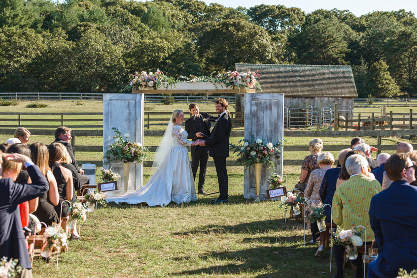 A wedding ceremony at Island Alpaca Company on Martha's Vineyard photo by David Welch Photography