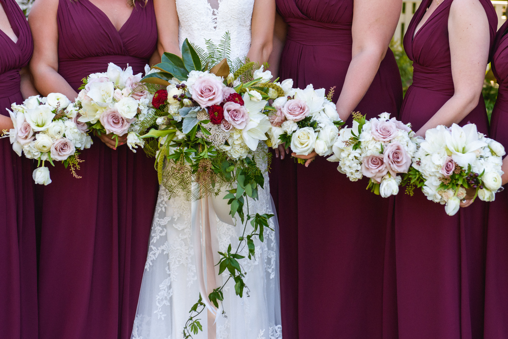 Bridal party bouquets at the Harbor View Hotel  photo by David Welch Photography