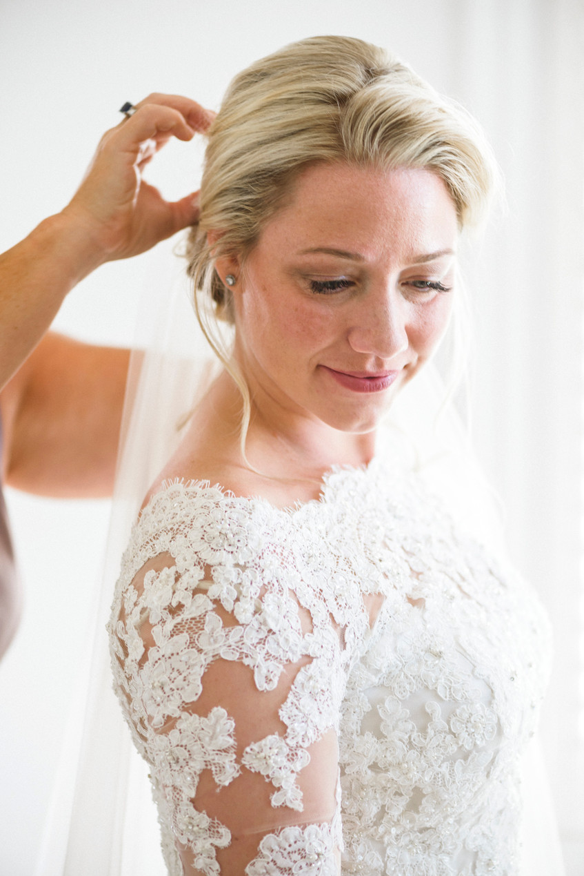 A bride getting ready for her wedding on Martha's Vineyard photo by David Welch Photography