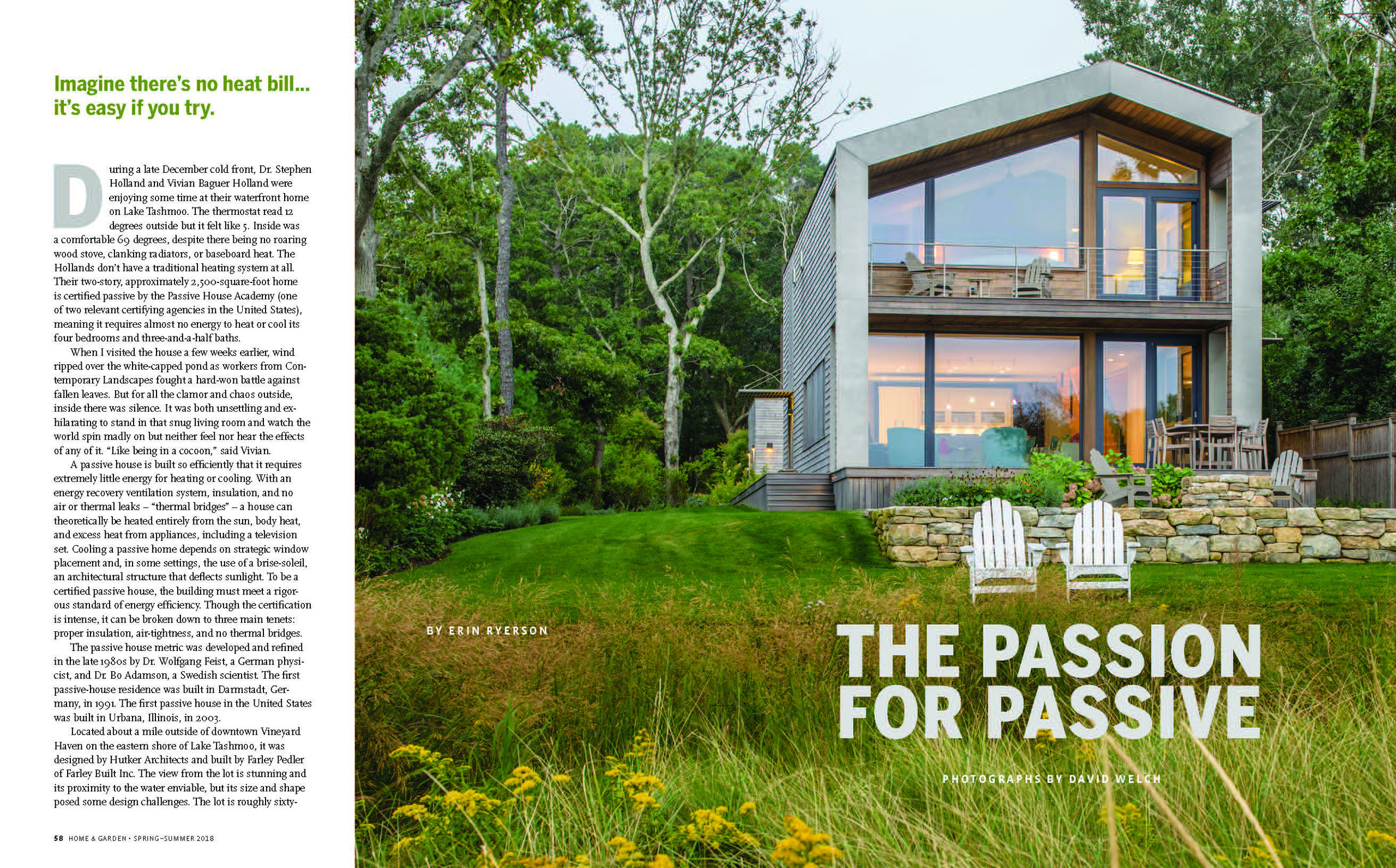 Martha's Vineyard Magazine article about a Hutker Architects Passive House photos by David Welch Photography