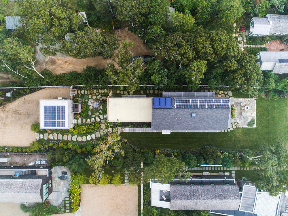 Drone photo of a passive house on Martha's Vineyard photo by David Welch Photography