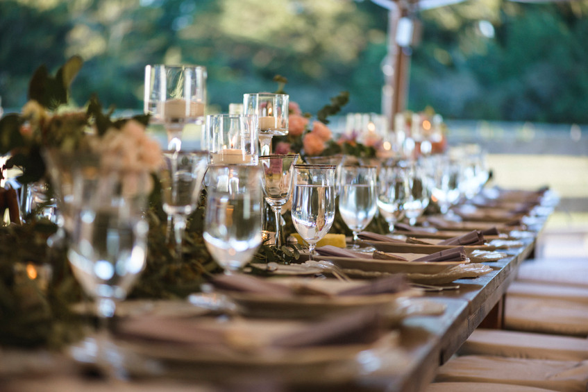 A wedding day tablescape at Island Alpaca Company on Martha's Vineyard photo by David Welch Photography