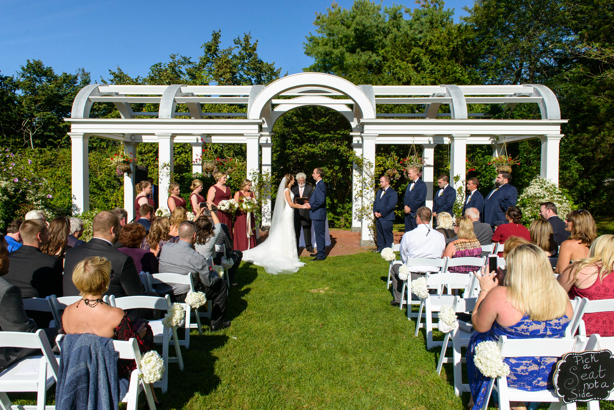 Wedding ceremony at the Harbor View Hotel's Great Lawn  photo by David Welch Photography
